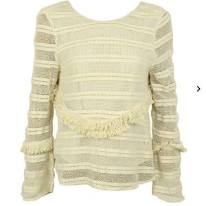 New with tags Zara Ivory fringe tassle top  small